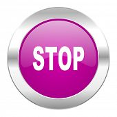 stop violet circle chrome web icon isolated