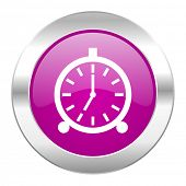 alarm violet circle chrome web icon isolated