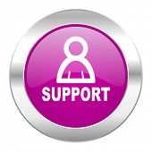 support violet circle chrome web icon isolated
