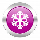 snow violet circle chrome web icon isolated
