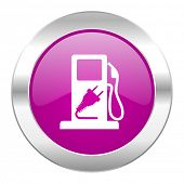 fuel violet circle chrome web icon isolated