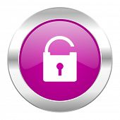 padlock violet circle chrome web icon isolated