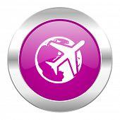 travel violet circle chrome web icon isolated