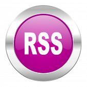 rss violet circle chrome web icon isolated