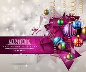 stock photo of christmas greetings  - Christmas original modern background template for invitations - JPG