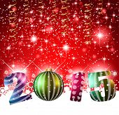 Original 2015 flat style  new year modern background with 3D style earth and soft shadows.