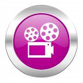 movie violet circle chrome web icon isolated