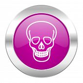 skull violet circle chrome web icon isolated