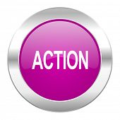 action violet circle chrome web icon isolated