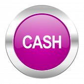 cash violet circle chrome web icon isolated