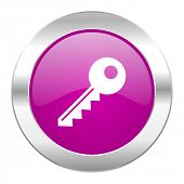 key violet circle chrome web icon isolated