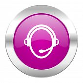 customer service violet circle chrome web icon isolated