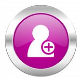 add contact violet circle chrome web icon isolated