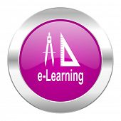 learning violet circle chrome web icon isolated