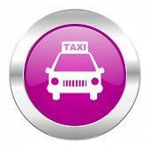taxi violet circle chrome web icon isolated