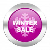 winter sale violet circle chrome web icon isolated