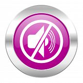 mute violet circle chrome web icon isolated