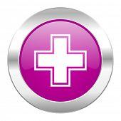 pharmacy violet circle chrome web icon isolated