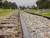 Closeup view of train tracks