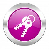 keys violet circle chrome web icon isolated