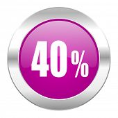 40 percent violet circle chrome web icon isolated