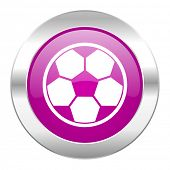soccer violet circle chrome web icon isolated