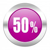 50 percent violet circle chrome web icon isolated