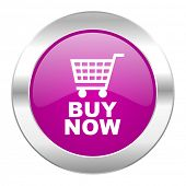 buy now violet circle chrome web icon isolated
