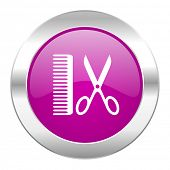 barber violet circle chrome web icon isolated