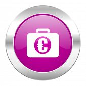 financial violet circle chrome web icon isolated