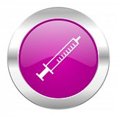 medicine violet circle chrome web icon isolated