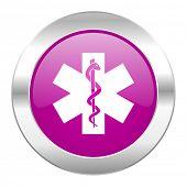 emergency violet circle chrome web icon isolated