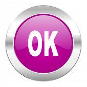 ok violet circle chrome web icon isolated