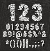 Chalk alphabet on black background. Vector illustration