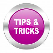 tips tricks violet circle chrome web icon isolated