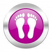 foot violet circle chrome web icon isolated