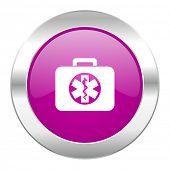 rescue kit violet circle chrome web icon isolated