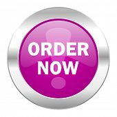 order now violet circle chrome web icon isolated