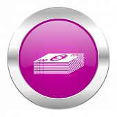 money violet circle chrome web icon isolated