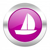 yacht violet circle chrome web icon isolated