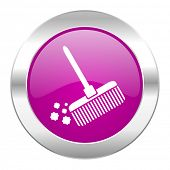 broom violet circle chrome web icon isolated