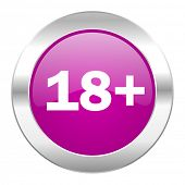 adults violet circle chrome web icon isolated