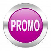 promo violet circle chrome web icon isolated