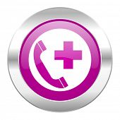 emergency call violet circle chrome web icon isolated