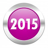 new year 2015 violet circle chrome web icon isolated