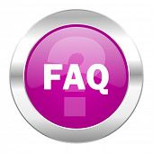 faq violet circle chrome web icon isolated