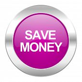 save money violet circle chrome web icon isolated