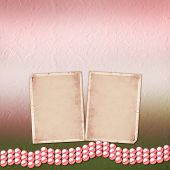 Festive Invitation Or Congratulations For A Wedding, Christening With Pink Beautiful Pearls
