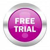 free trial violet circle chrome web icon isolated