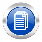 document blue circle chrome web icon isolated